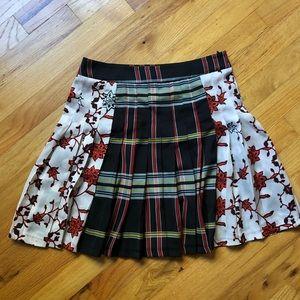 Zara pleated floral & plaid skirt size S